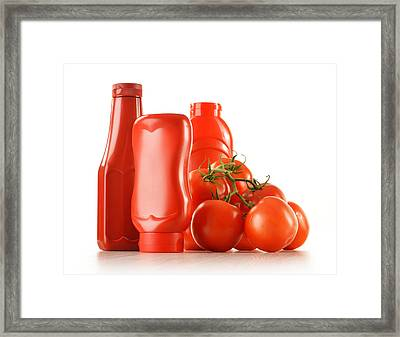 Composition With Ketchup And Fresh Tomatoes Isolated On White Framed Print