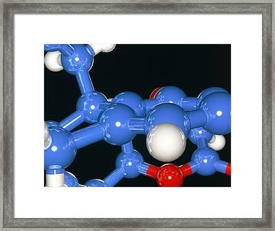 Computer Artwork Of Part Of A Molecule Framed Print by Laguna Design