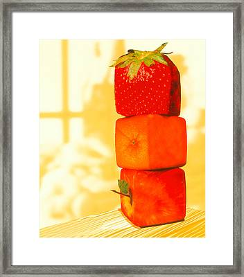 Conceptual Image Of Genetically-engineered Fruit Framed Print by Victor Habbick Visions