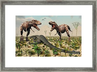 Confrontation Between A Pair Of T. Rex Framed Print by Mark Stevenson