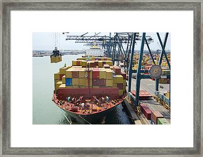 Container Ship And Port Framed Print by Dr Juerg Alean
