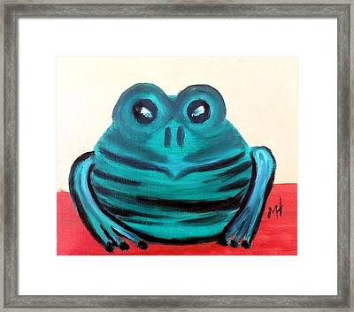 Framed Print featuring the painting Contented Male Frog by Margaret Harmon