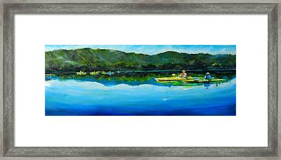 Conversation At Spring Lake Framed Print by Terrence  Howell