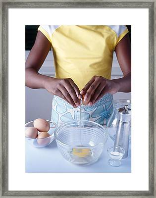 Cooking Scrambled Eggs Framed Print by Veronique Leplat