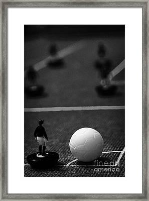Corner Kick Football Soccer Scene Reinacted With Subbuteo Table Top Football Players Game Framed Print by Joe Fox