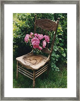 Cottage Chic Dreamy Pink Peonies In White Basket Framed Print