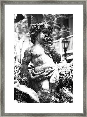 Courtyard Statue Of A Cherub French Quarter New Orleans Black And White Diffuse Glow Digital Art Framed Print