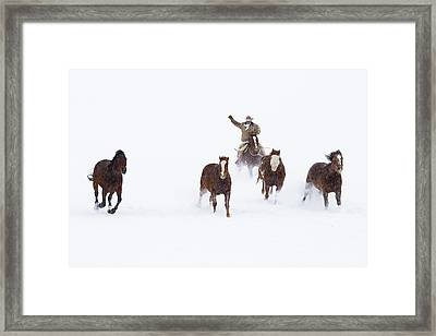 Cowboys And Horses In Winter Framed Print by Frank Lukasseck