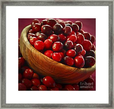 Cranberries In A Bowl Framed Print by Elena Elisseeva