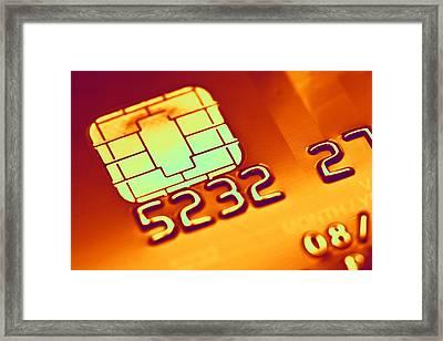 Credit Card Microchip, Computer Artwork Framed Print by Pasieka