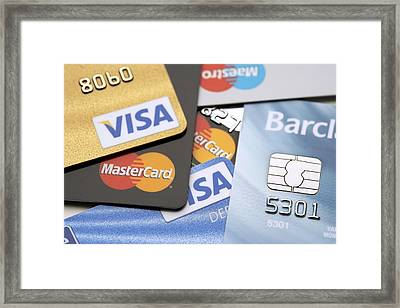 Credit Cards Framed Print by Jon Stokes