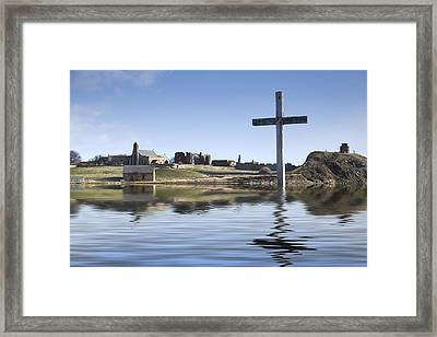Cross In Water, Bewick, England Framed Print by John Short