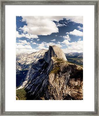 Cumulus Clouds And Half Dome Yosemite National Park Framed Print by Troy Montemayor