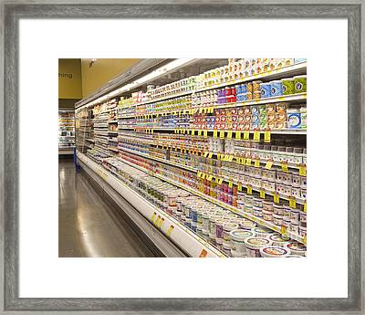 Dairy Aisle In A Grocery Store Framed Print by David Buffington