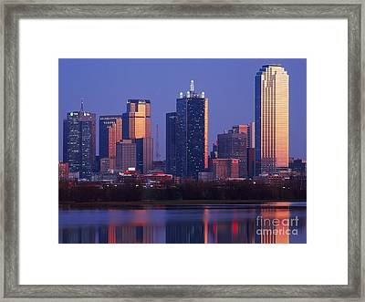 Dallas Skyline Reflected In Pond At Dusk Framed Print by Jeremy Woodhouse