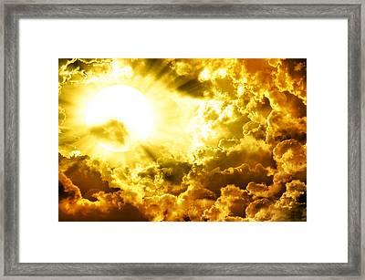 Dark Sky With Sun Framed Print by Nattapon Wongwean