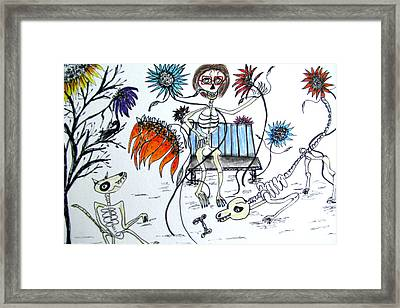 Day Of The Dead Dog Park Framed Print