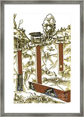 De Re Metallica, Mine Shafts, 16th Framed Print by Science Source
