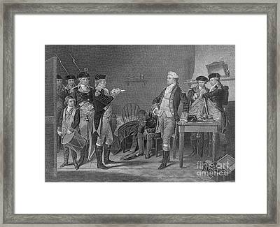 Death Warrant Of Major John Andre, 1780 Framed Print by Photo Researchers