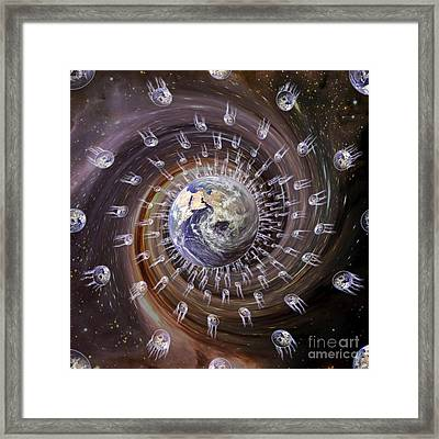 Digitally Enhanced Image Of The Earth Framed Print by Stocktrek Images