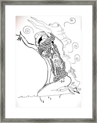 Framed Print featuring the drawing Dinka Dance - South Sudan by Gloria Ssali