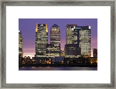 Docklands Canary Wharf Sunset Framed Print by David French