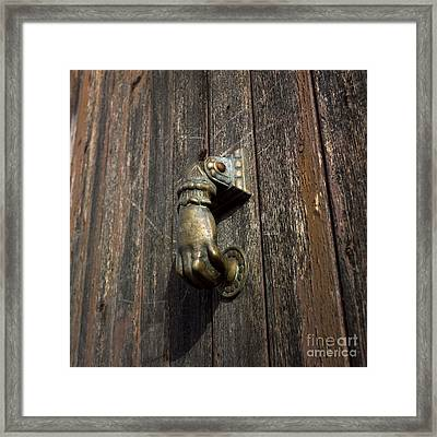 Door Handle In The Shape Of A Hand Framed Print