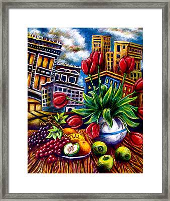 Down Town Tulips Framed Print
