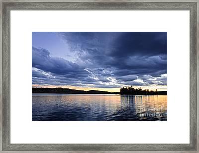 Dramatic Sunset At Lake Framed Print