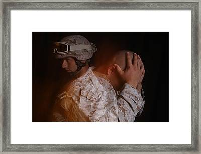 Dramatization Of A Us Marine Affected Framed Print by Everett