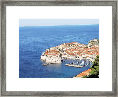 Framed Print featuring the drawing Dubrovnik Former Yugoslavia Croatia by Joseph Hendrix