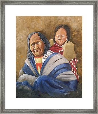 Eagle Feather And Child Framed Print by Raymond Schuster