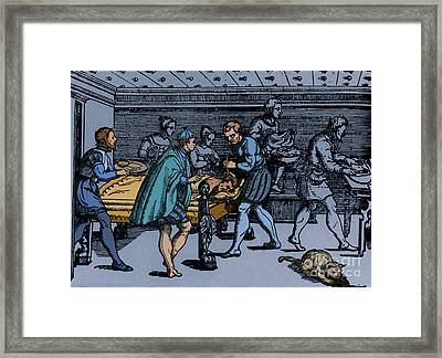 Earliest Depiction Of Craniotomy Framed Print by Photo Researchers
