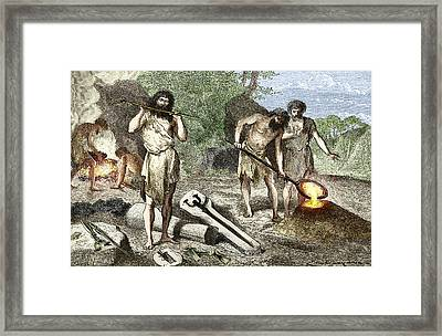Early Humans Smelting Bronze Framed Print by Sheila Terry