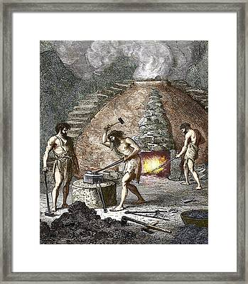 Early Humans Smelting Iron Framed Print