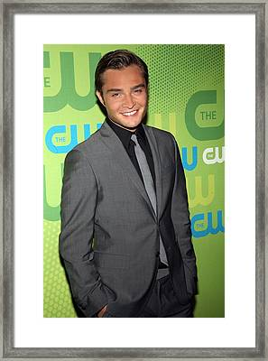 Ed Westwick At Arrivals For The Cw Framed Print by Everett