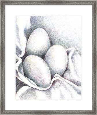 Eggs In Folds Framed Print by Lissa Rachelle