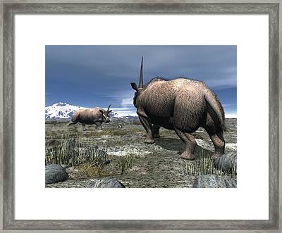 Elasmotherium, Artwork Framed Print by Walter Myers