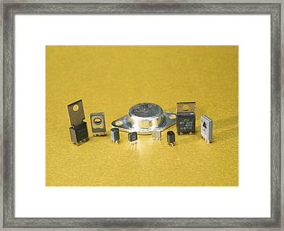 Electronic Circuit Board Components Framed Print
