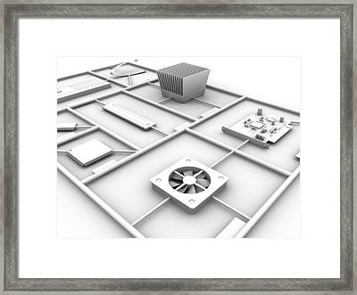 Electronic Components, Artwork Framed Print by Pasieka