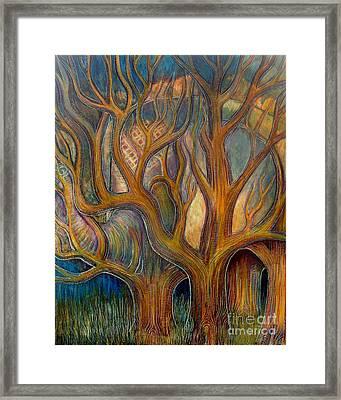 Elephant In Trees Framed Print