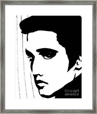 Elvis In Black And White Framed Print