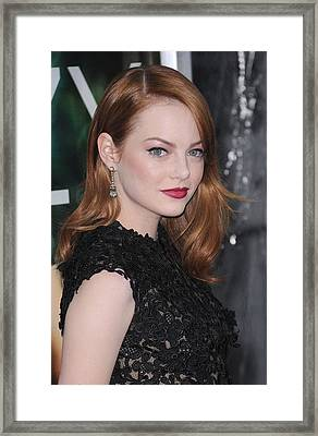 Emma Stone Wearing Fred Leighton Framed Print by Everett