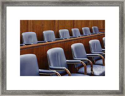Empty Jury Seats In Courtroom Framed Print by Jeremy Woodhouse