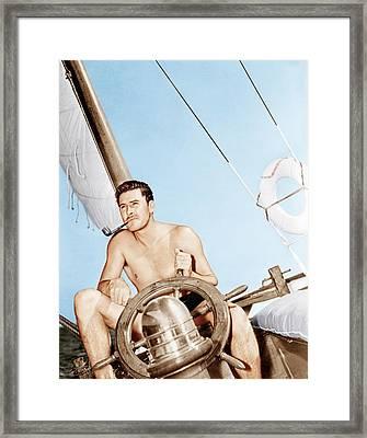 Errol Flynn Relaxing On His Yacht, Ca Framed Print by Everett