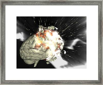 Exploding Brain Framed Print by Christian Darkin