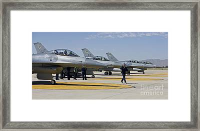 F-16 Pilots Work With Crew Chiefs Framed Print by HIGH-G Productions