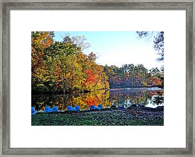 Fall At The Lake Framed Print by Larry Bishop