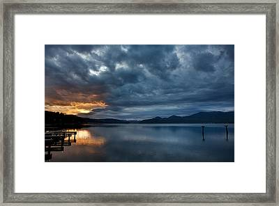 Fall Sunset Over Lake Pend Oreille Framed Print by Marie-Dominique Verdier