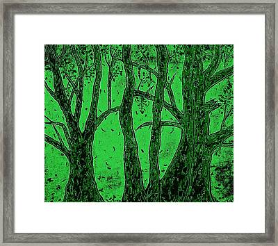 Falling Leaves Green Framed Print